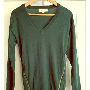 Michael Kors V-neck Zipper Green Sweater